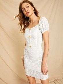 Button Shirred Eyelet Embroidered Dress