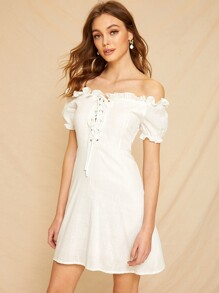 Off-shoulder Lace-up Front Frill Dress