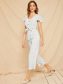 Button Polka Dot Self Tie Jumpsuit
