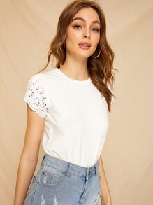 Eyelet Embroidery Sleeve Solid Tee