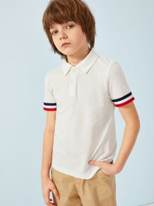 Boys Striped Cuff Polo Shirt