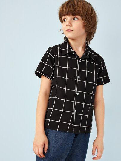 Boys Button Front Grid Shirt