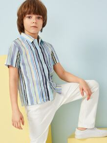 Boys Button Up Striped Shirt