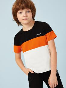 Boys Colorblock Letter Print Tee