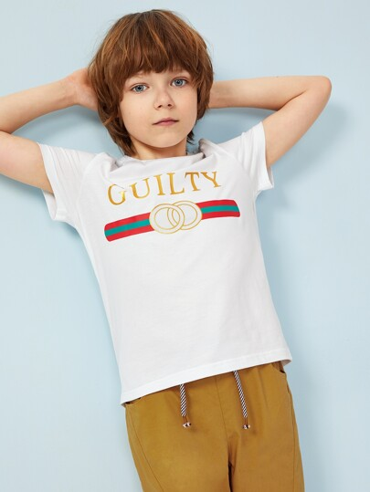 dfdcaba9dee8 Boys Colorblock Letter and Striped Print Tee