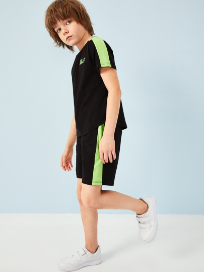 Boys Neon Panel Letter Tee & Shorts Set