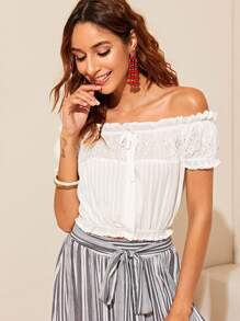 Frilled Off Shoulder Button Up Schiffy Bardot Top