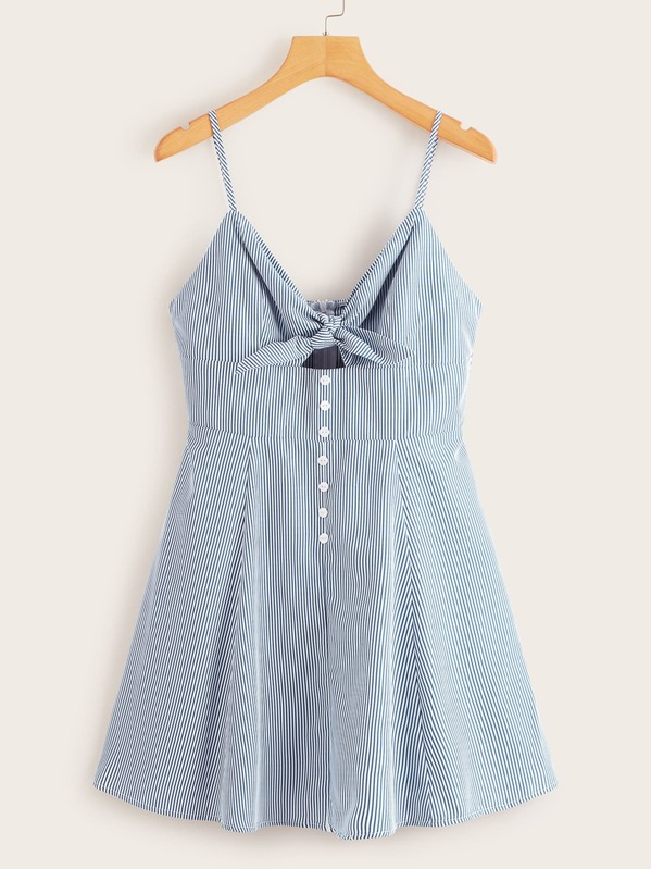 97abd7e6f9 Knot & Button Front Striped Peekaboo Cami Dress | SHEIN UK