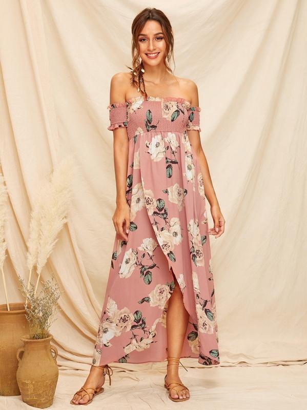 e42b35f7ab4 Off Shoulder Shirred Bodice Wrap Split Floral Dress