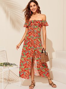 Cutout Side Ruffle Trim Split Thigh Tropical Dress