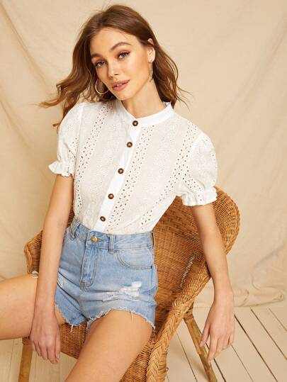Eyelet Embroidery Button Front Blouse