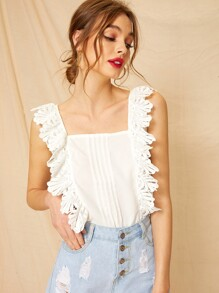 Lace Panel Pleated Detail Blouse