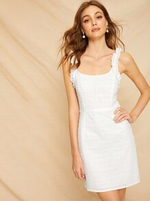 Eyelet Embroidery Frill Cami Dress