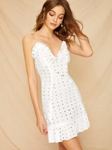 Eyelet Embroidery Knot Front Cami Dress