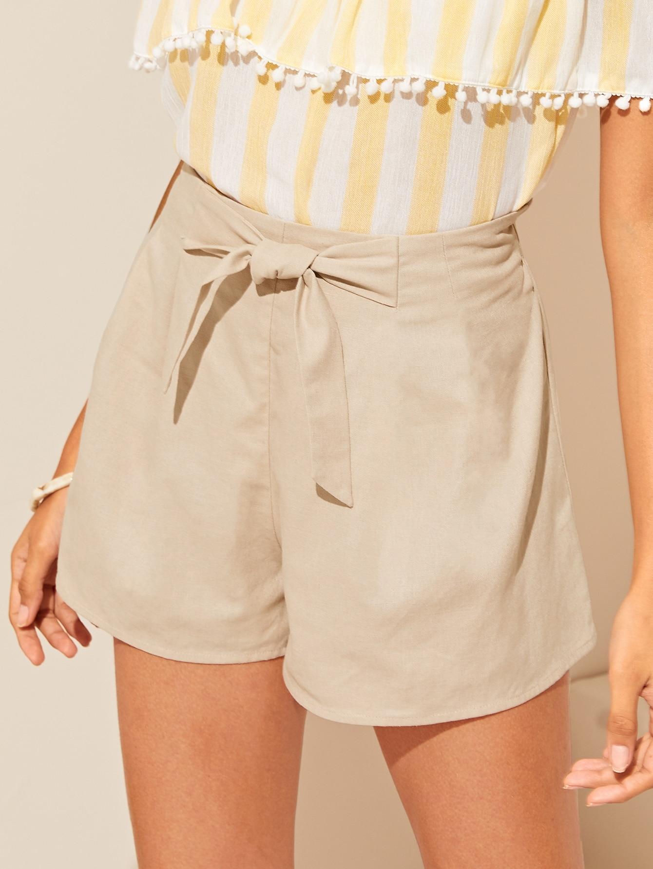 af7e50753c6 Shorts sólidos de cintura con cordón