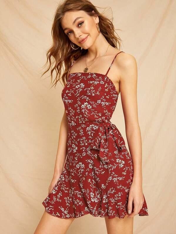 1f5daa45e2 Shoptagr | Ditsy Floral Wrap Cami Dress by Sheinside