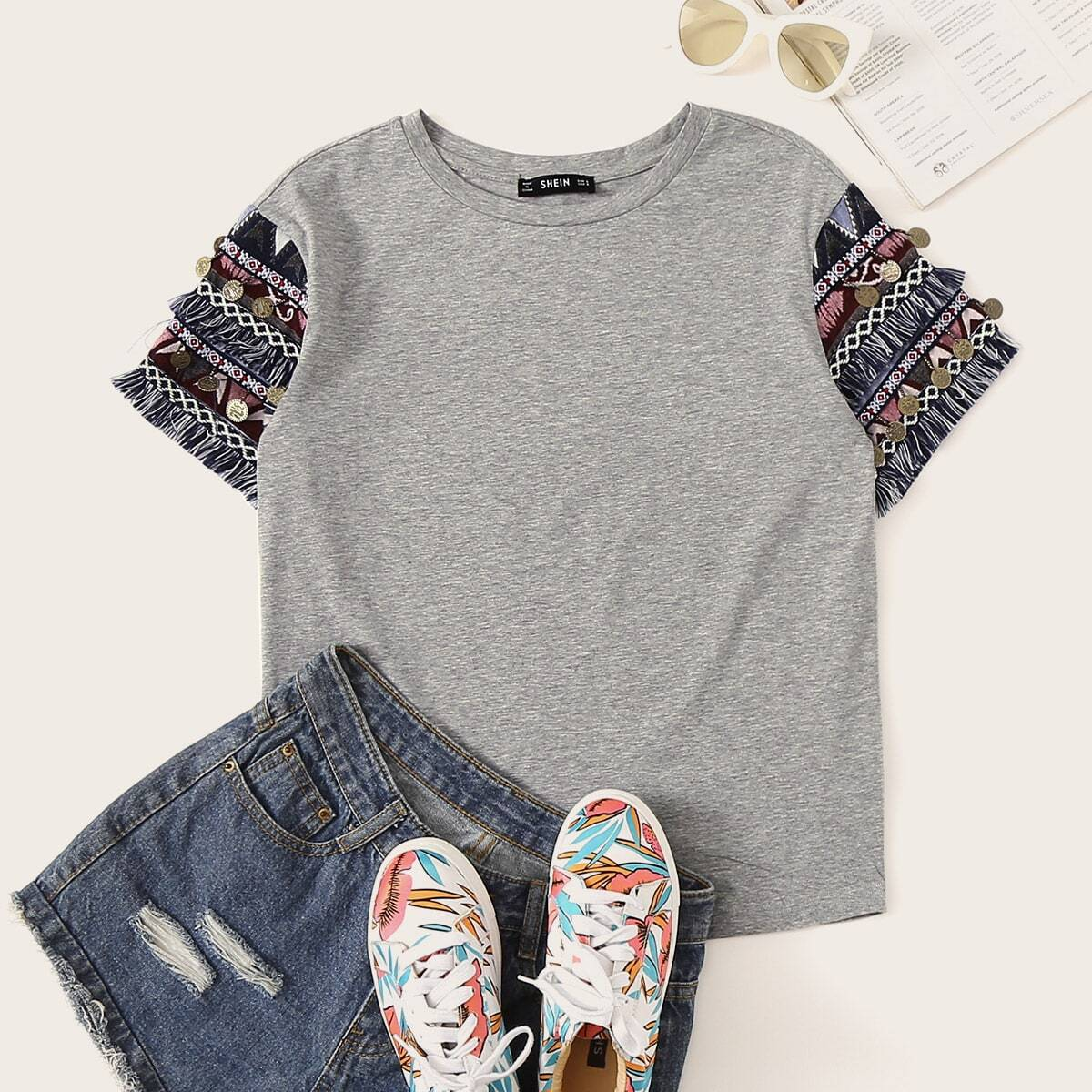 SHEIN coupon: Aztec Fringe Trim Heathered Gray Tee