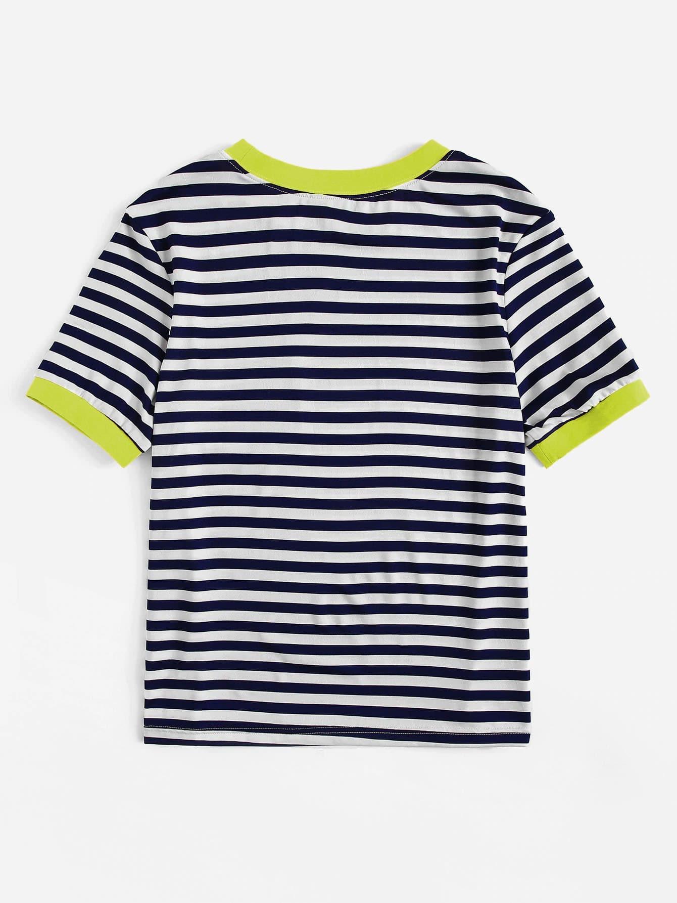 Neon Grün T-Shirt mit Tasche Flicken und Streifen | SHEIN