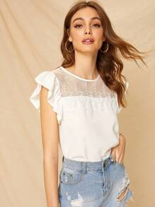 Lace Panel Keyhole Back Blouse