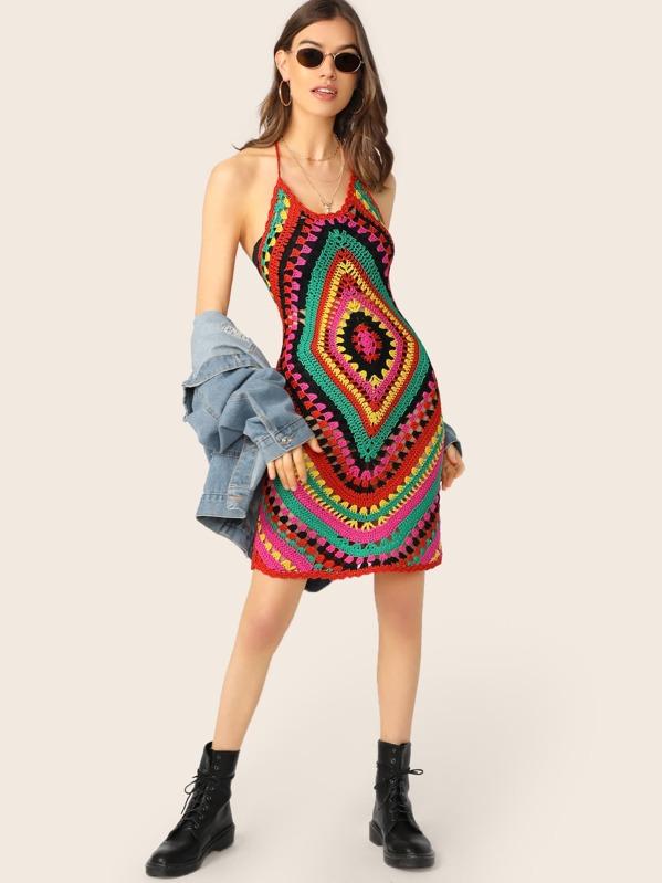 0f46084f8de8 Halter Neck Rasta Crochet Knit Mini Dress | SHEIN