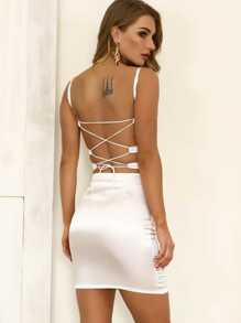 Joyfunear Lace-up Back Satin Cami Bodycon Dress