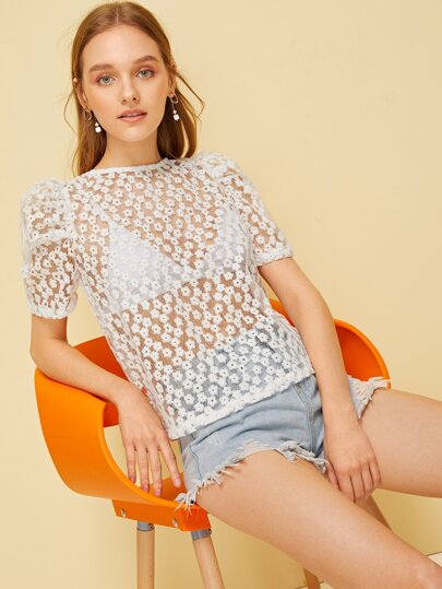 Puff Sleeve Embroidery Floral Mesh Top