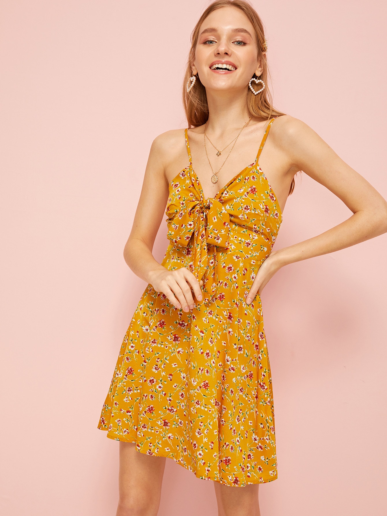 Knot Front Calico Floral Cami Dress by Romwe