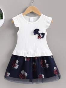 Toddler Girls Contrast Mesh Floral Print Bow Combo Dress