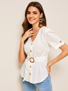 V-neck Button Front Belted Blouse