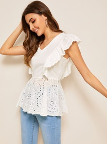 Eyelet Embroidery V-neck Ruffle Trim Blouse