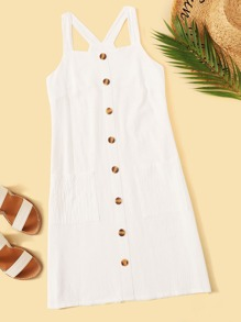 Dual Pocket Button Front Cami Dress