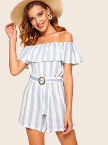 Striped Ruffle Trim Belted Off The Shoulder Playsuit