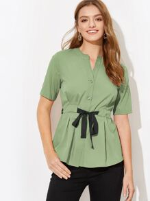 Drawstring Waist Button Blouse