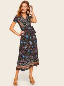 Surplice Front Floral Print Knot Dress