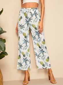 Wide Leg Pineapple Print Pants