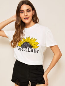 Letter And Floral Print Tee