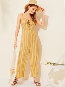 Striped Lace-up Wide Leg Jumpsuit
