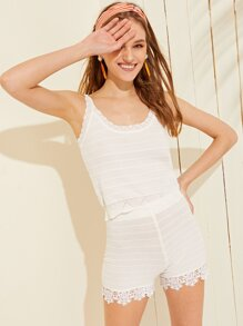 Wave Side Solid Top With Crochet Hem Shorts
