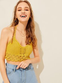 Crochet Solid Halter Backless Top