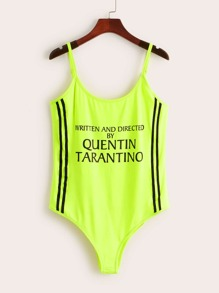 Plus Neon Lime Letter Print Striped Panel Cami Bodysuit