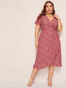 Plus Ditsy Floral Print Tulip Hem V-neck Dress