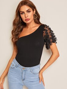 One-shoulder Lace Sleeve Tee