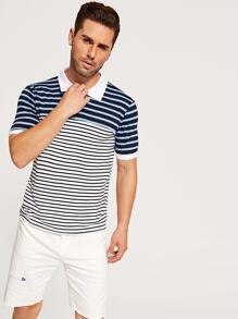 Men Contrast Trim Stripe Polo Shirt