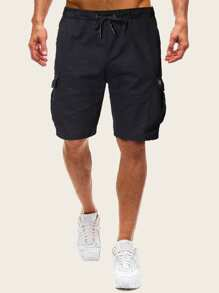Men Drawstring Waist Dual Pocket Solid Shorts