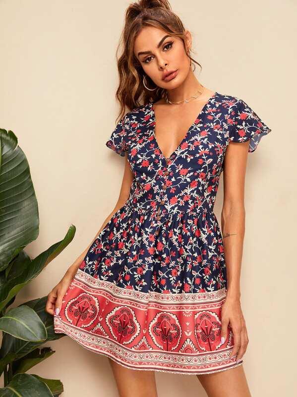 49e8f49a9d Ditsy Floral Print V-neck Dress   SHEIN UK
