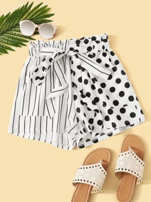 Striped Polka Dot Panel Knot Front Paperbag Shorts