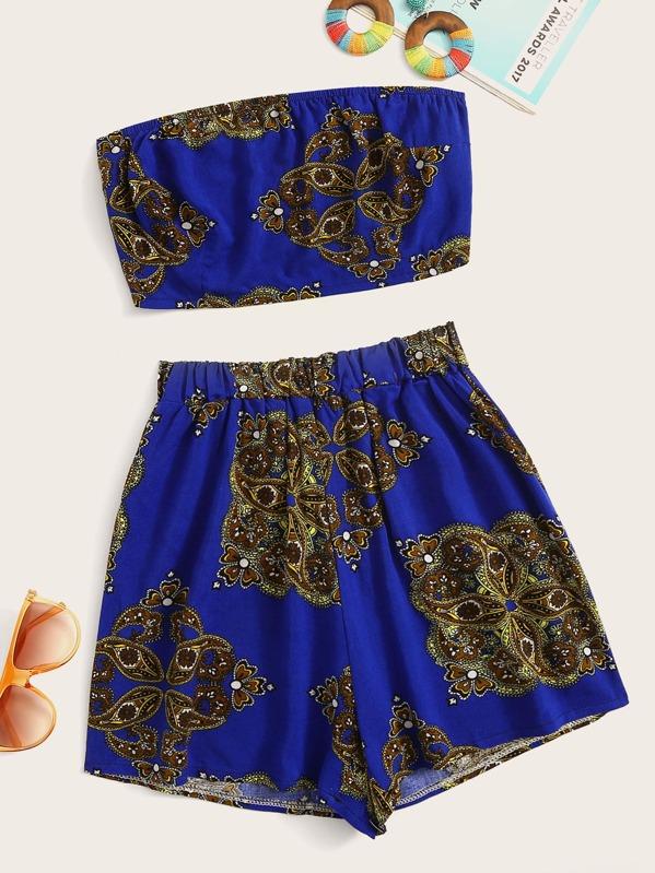 59a02db7be9 Paisley Print Crop Tube Top With Shorts