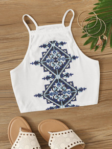 Geo Embroidered Cami Top