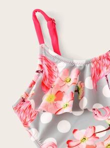 7163c3bd6397f ملابس سباحة قطعة واحدة بطباعة الفلامنجو الزهر للبنات الصغار