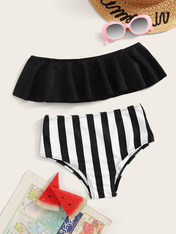 b0ea113197 Toddler Girls Flounce Bardot Top With Striped Bikini | SHEIN